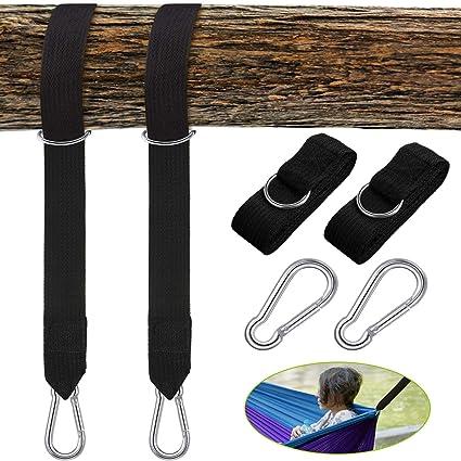 Swing Hammock Tree Hanging Kit Strap Hooks Carabiner Set For Garden Swing Hold