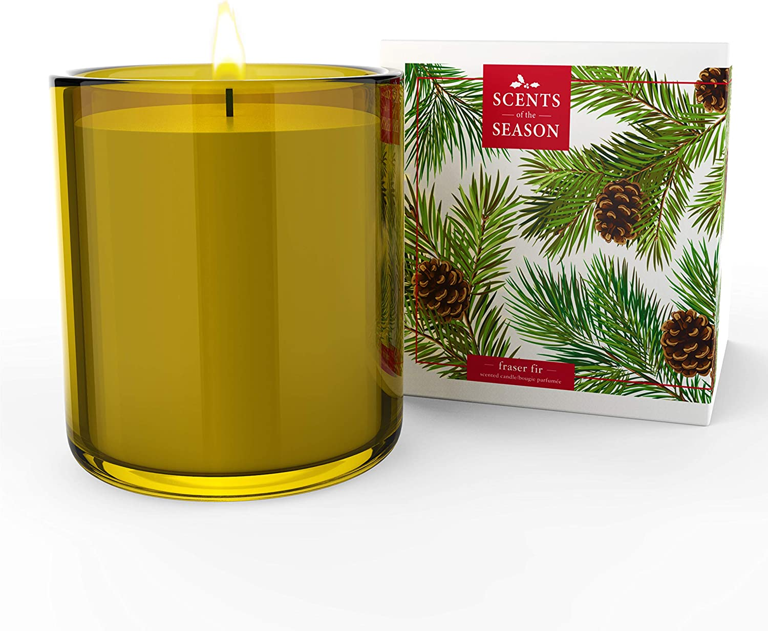Frasier Fir Scented Candle | Non-Toxic Long Burning Soy Candles | Festive Home Fragrance | 8.5 oz Heavy Glass Jar | Hand Made in The USA