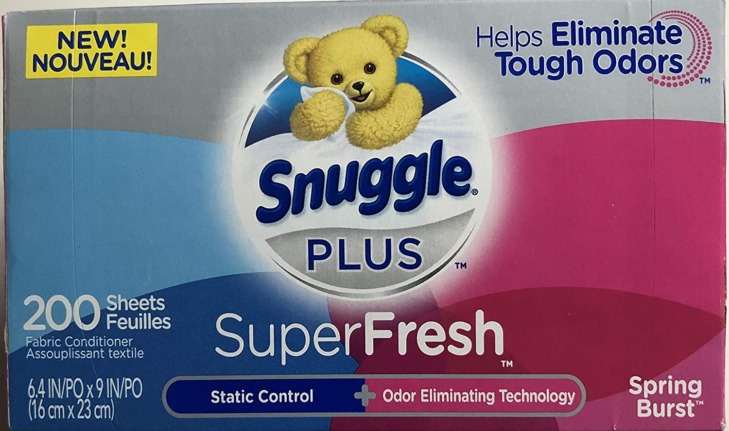 Snuggle Plus SuperFresh Fabric Softener Dryer Sheets with Static Control and Odor Eliminating Technology, Spring Burst, 200 Count
