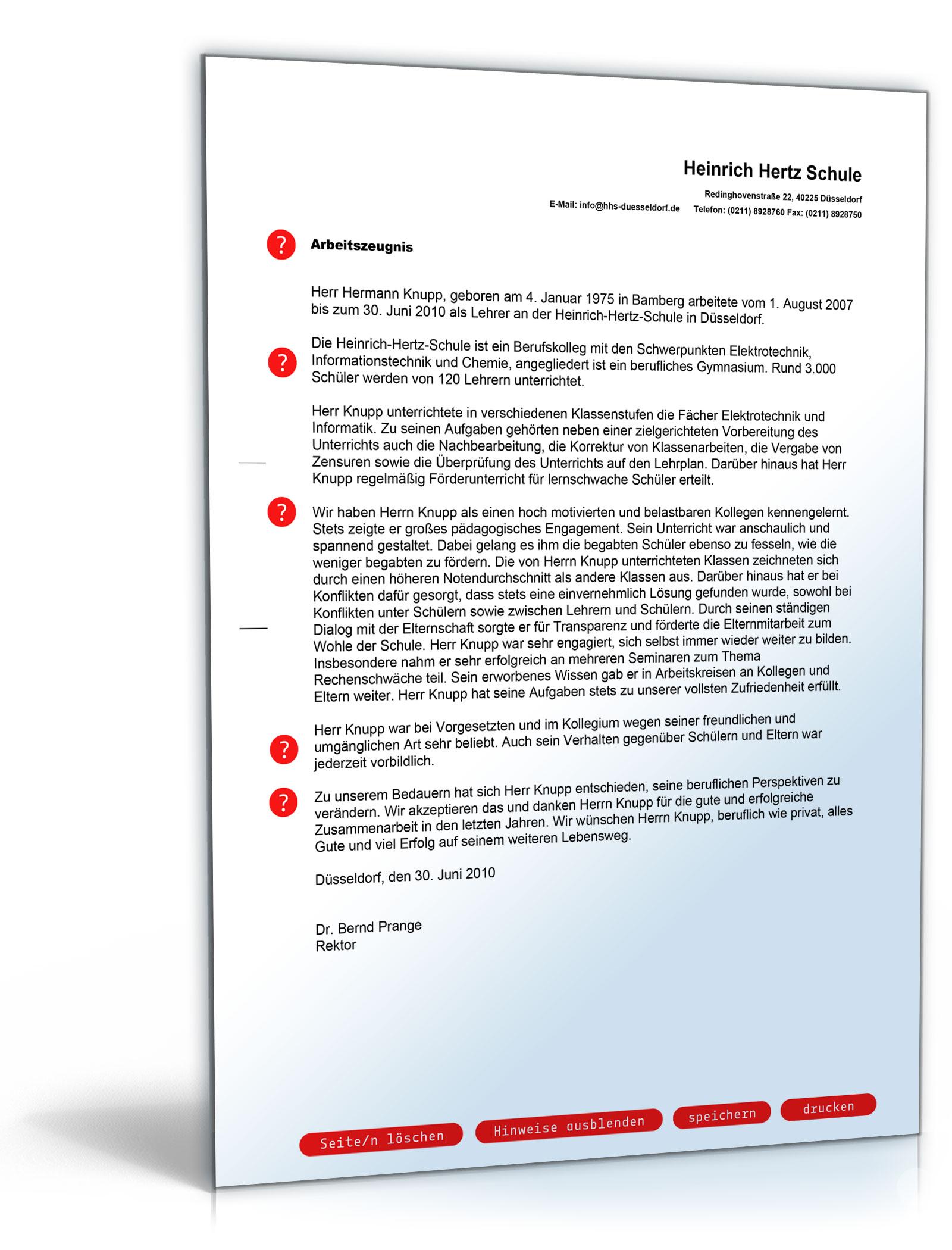 Arbeitszeugnis Lehrer Note Eins [Download]: Amazon.de: Software