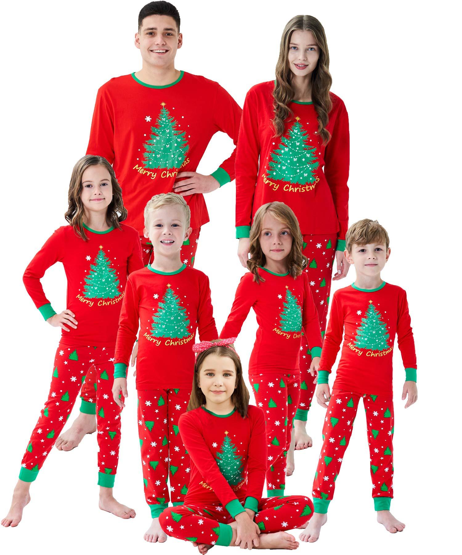 Family Matching Christmas Pjs Christmas Tree Boys Girls Pajamas Kids Sleepwear Size 10 Red by Dolphin&Fish