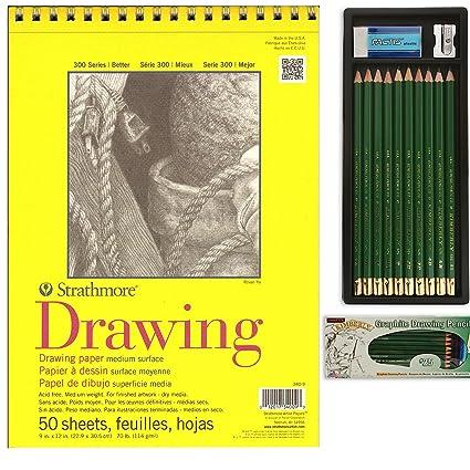 amazon com strathmore 300 9x12 drawing pad general pencil set