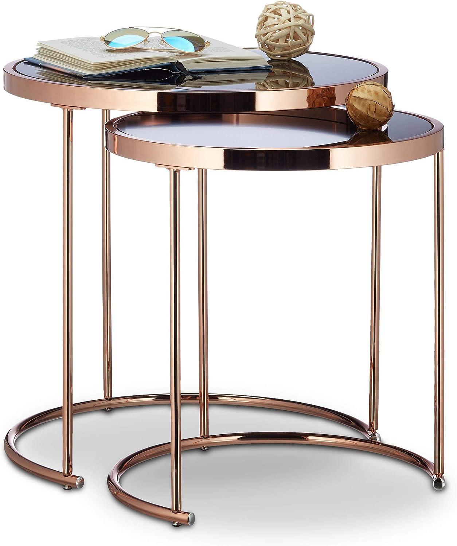 Relaxdays Satztische, verchromt, modernes Design Schwarzglas, Couchtisch  Metall, Kupfer 12er Set Beistelltisch rund Stahl, 12 x 12 x 12 cm