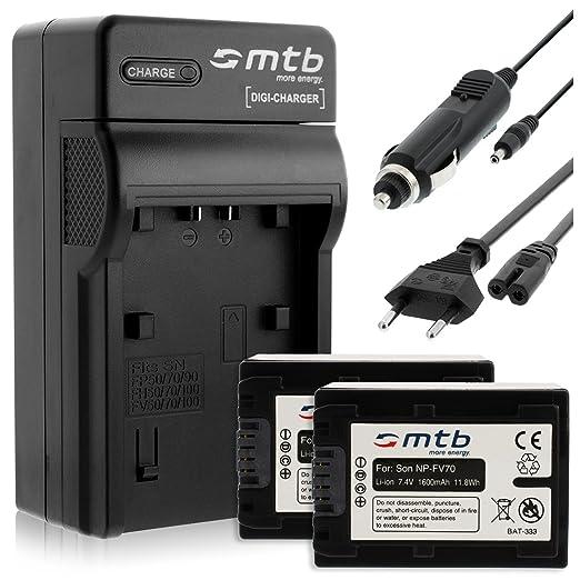 2 opinioni per 2 Batterie + Caricabatteria (Auto/Corrente) per Sony NP-FV70 / DEV-, DCR-, HDR-,
