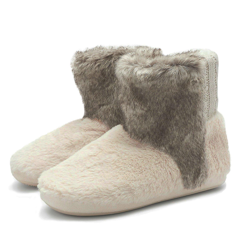 COFACE Womens Warm Slipper Boots Winter Fluffy Fur Lined Indoor House Bootie,Beige-L