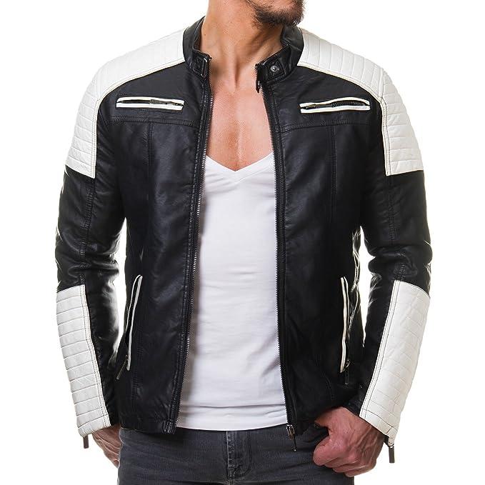 Redbridge Hombre Chaqueta De Piel sintética Biker geteppt Blanco y Negro m6014: Amazon.es: Ropa y accesorios