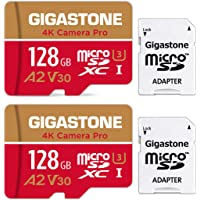 Gigastone 128GB 2-Pack Micro SD Card, 4K Camera Pro, 4K Video Recording for GoPro, Action Camera, DJI, Drone, R/W up to…