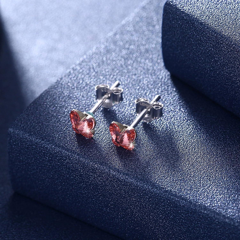 Daesar Stud Earrings for Women Sterling Silver Earrings Butterfly Crystal Earrings Studs