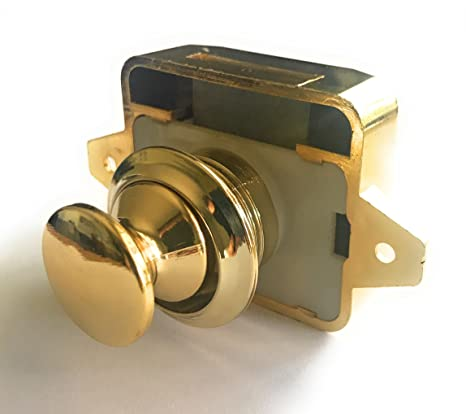 AMT Key Less Push Button Cabinet Latch for Rv/Motor Home Cupboard Caravan  Lock for Cupboard Push Latch Lock (Glossy Gold)