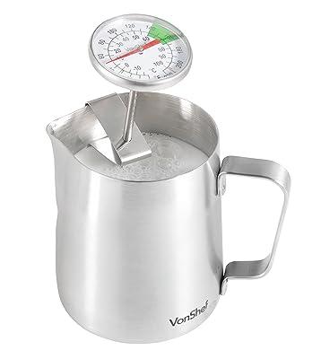 Thermometer seitlich in das Milchkännchen eingehhängt
