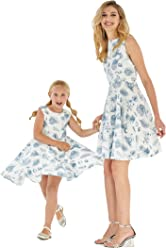 4c577f0d6143 Matching Hawaiian Luau Mother Daughter Vintage Fit and Flare Dresses in  Tropical Patterns