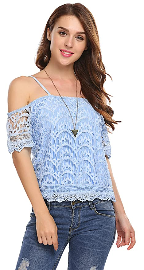 7822c24fa41 POGTMM Women's Summer Lace Off Shoulder Tops Spaghetti Straps Short Sleeve  Casual Blouses at Amazon Women's Clothing store: