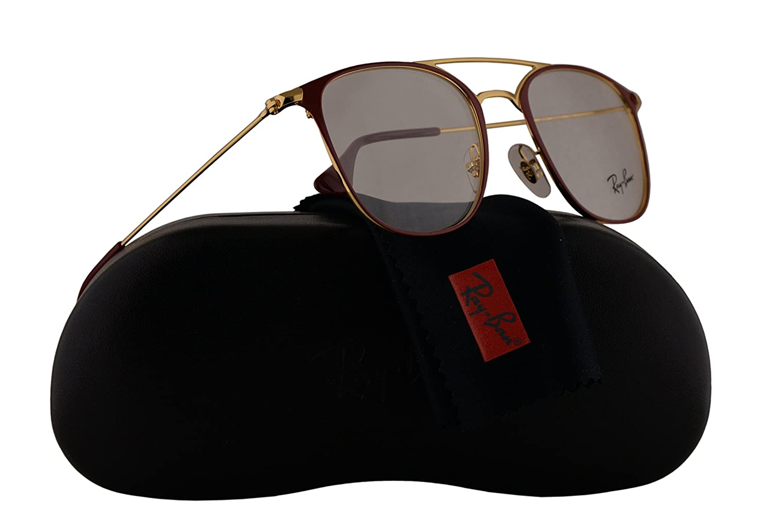 ac5545d393 Ray Ban RX6377 Eyeglasses 48-21-140 Gold Shiny Bordeaux w Demo Clear Lens  2910 RB6377 RB 6377 RX 6377  Amazon.co.uk  Clothing