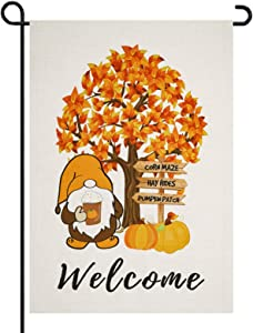 Nutodot Welcome Garden Flag Fall Pumpkin Patch Harvest Gnomes Flag Thanksgiving Vertical 12.5 x 18 Inch Farmhouse Autumn Yard Outdoor Decoration