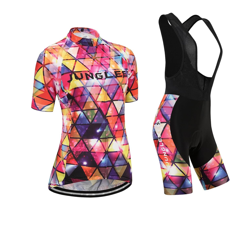 Cycling jersey Set, Maillot de Cyclisme Women Femme Short sleeve Manches Courtes(S~5XL,option:bib Cuissard,3D pad Coussin) N249 junglest