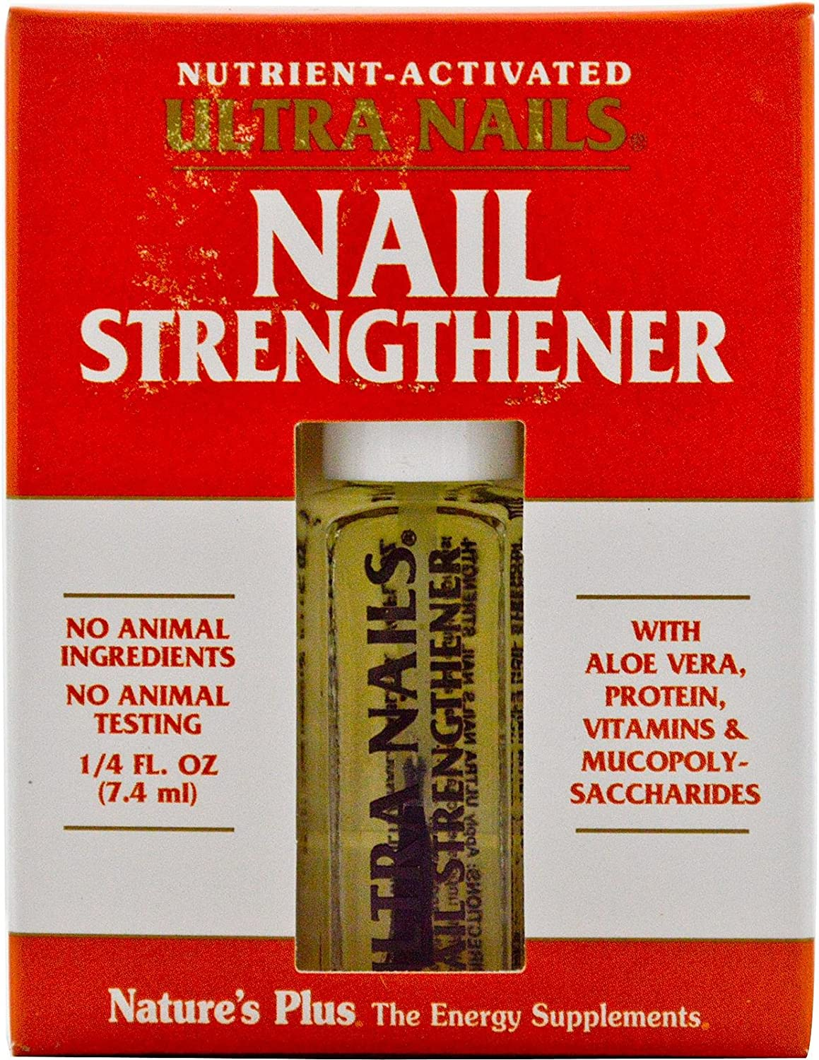 NaturesPlus Ultra Nails Nutrient-Activated Strengthener - .25 fl oz - Naturally Strengthens Nails & Cuticles - Conditions Nails with Aloe, Calendula, Vitamins & Protein - Formaldehyde Free, Vegan