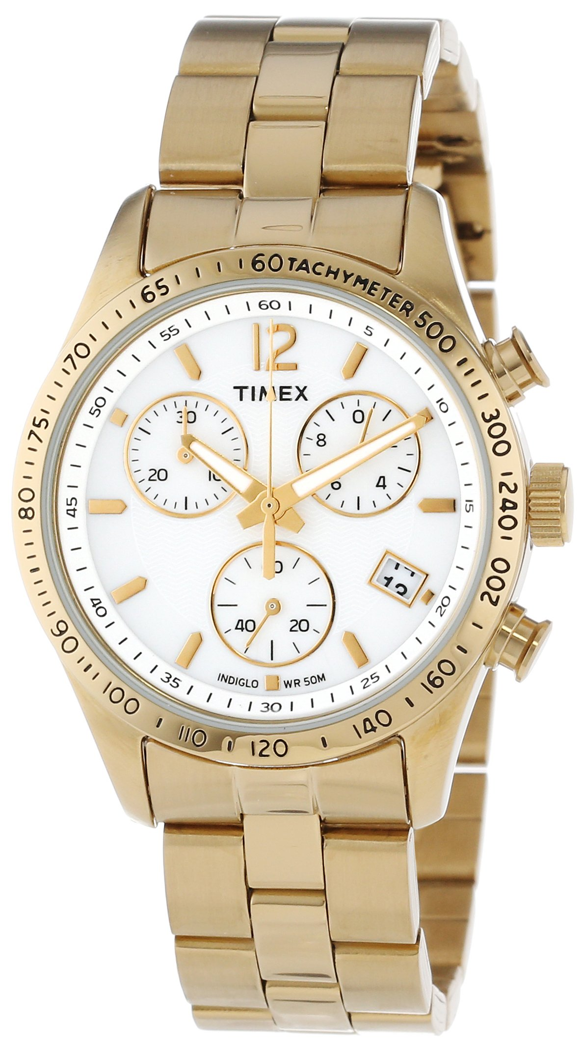 Timex Women's T2P058KW Ameritus Chronograph White Dial, Gold-Tone Stainless Steel Bracelet Watch by Timex