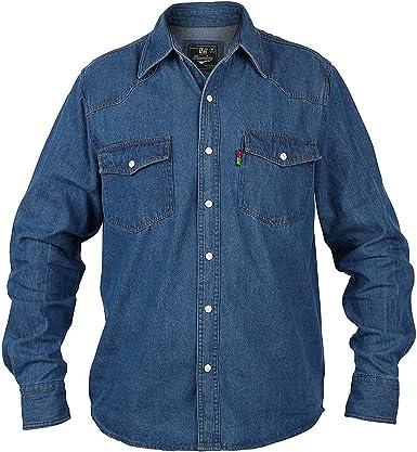 Duke Londres para Hombre Western Denim Camisa Regular Fit: Amazon.es: Ropa y accesorios
