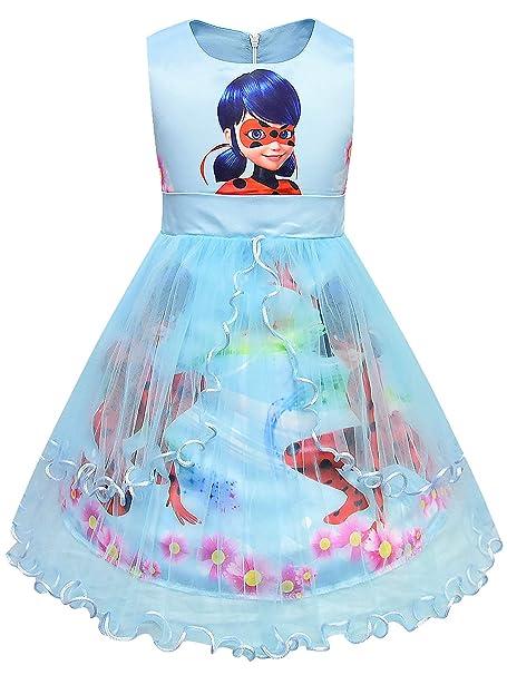 New front Niñas Vestido de Ladybug Disfraz de Princesa ...