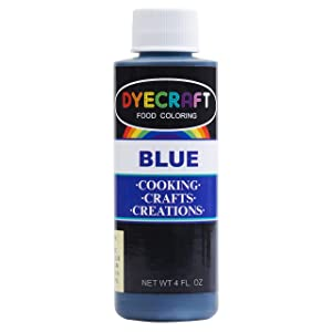 DyeCraft Blue Food Coloring (LARGE 4 oz Bottle) Odorless, Tasteless, Edible - Perfect for Baking, Cooking, Arts & Crafts, Decorations and More