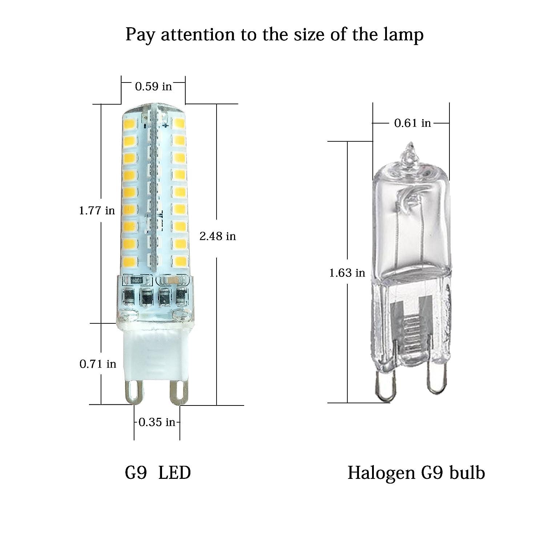 pack of 6) 4 watt led g9 dimmable light bulb replacement 35 40 watt(pack of 6) 4 watt led g9 dimmable light bulb replacement 35 40 watt halogen bulbs, 4000k natural white 120 volt 400 lumens 360 degree g9 base led light