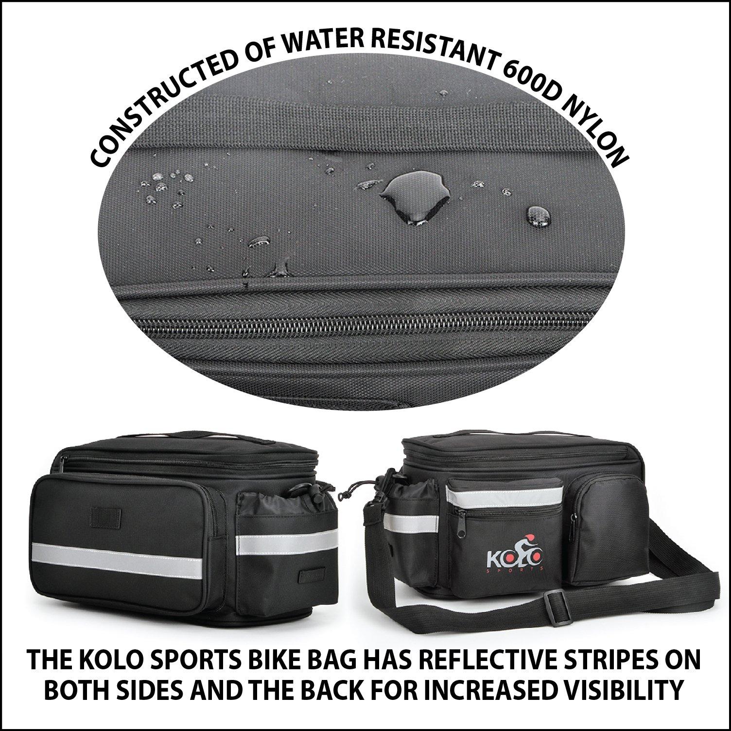 Kolo Sports Bike Pannier Bag | Durable & Waterproof Nylon With Extra Padded Foam Bottom & 3 Side Reflectors | Shoulder Strap Rack Rear Trunk Tote Bag | Strong Velcro, Zipper Pockets & Bottle Case