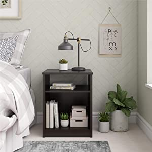 Mainstay Nightstand Features Open Top Shelf and Bottom Cubby, Black (Nightstand, Black)