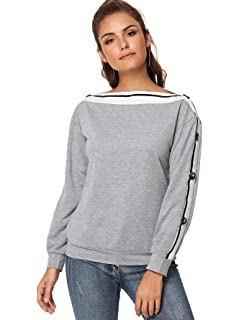 872c953b2d6834 Romwe Women's Boat Neck Striped Button Detail Sweatshirt Off The Shoulder Long  Sleeve Top Blouse Tunics