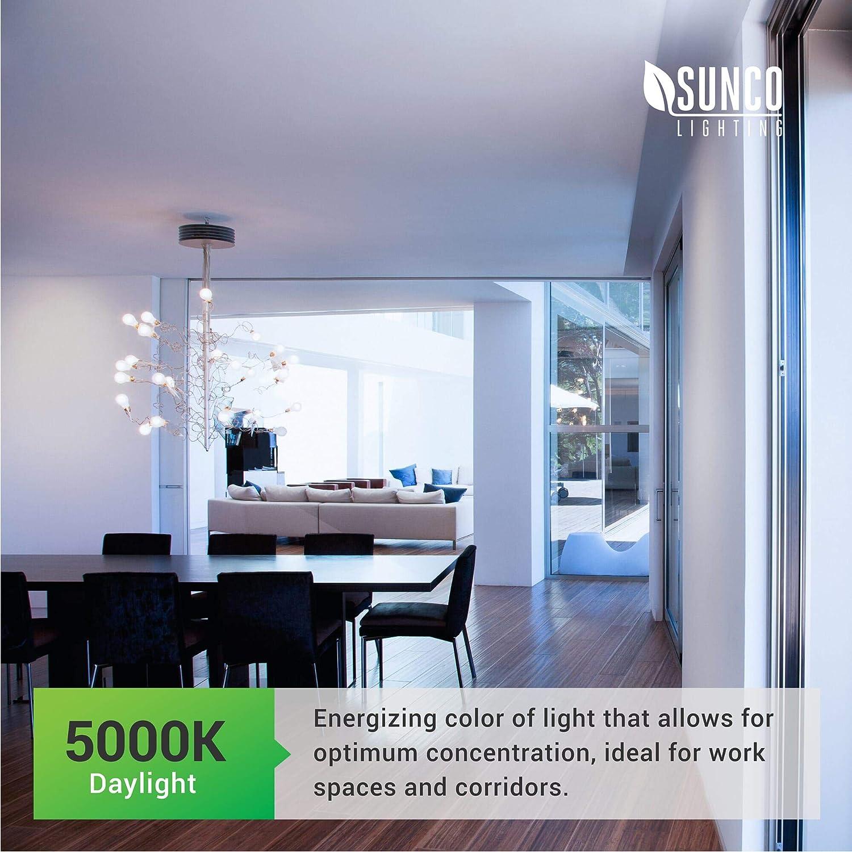 5000K Daylight Small Edison Screw Base E12 Frosted Candelabra Bulb 450 LM 5W=40W Sunco Lighting 6 Pack G14 LED Globe UL