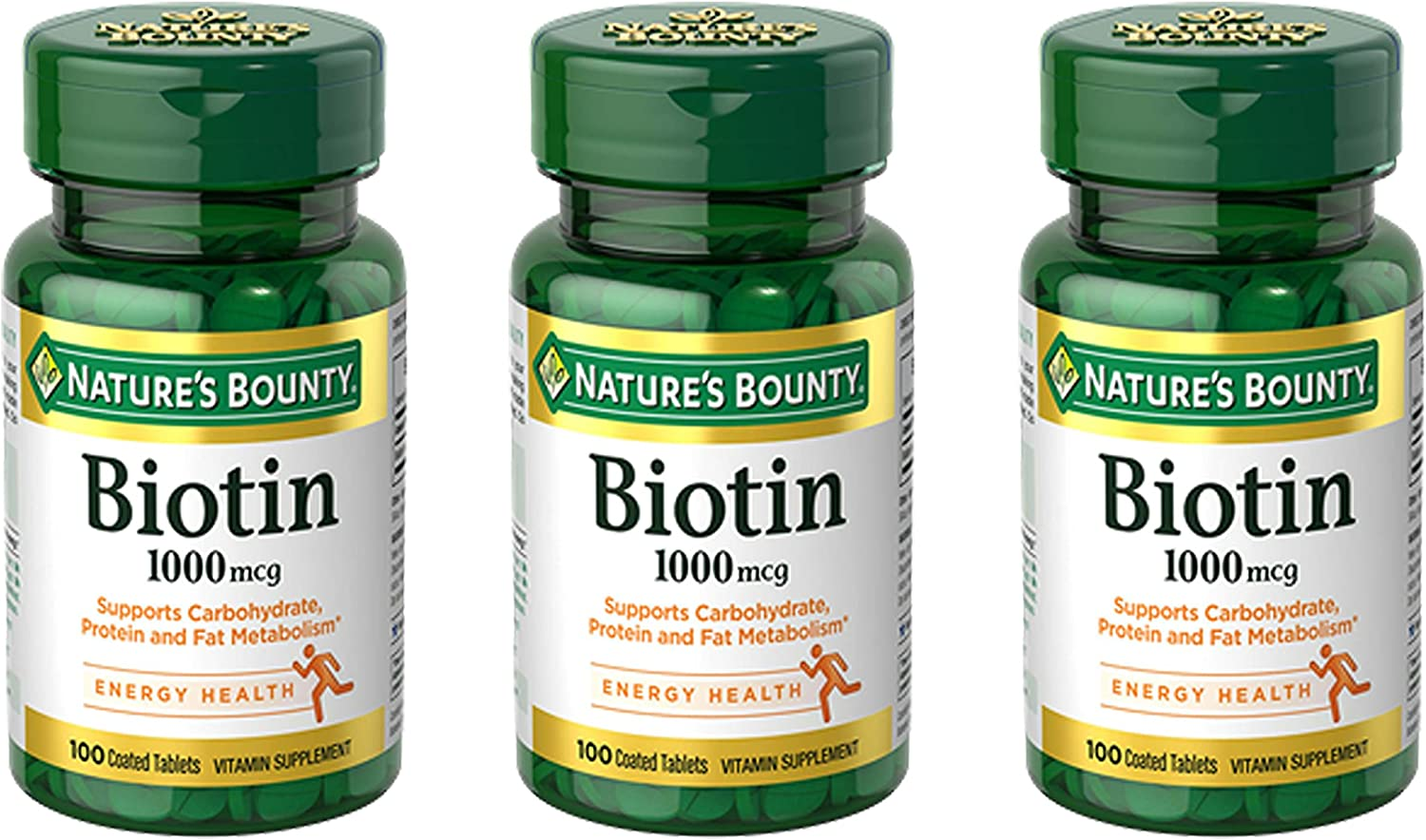 Nature's Bounty Biotin 1000 mcg Tablets 100 Count (Pack of 3)