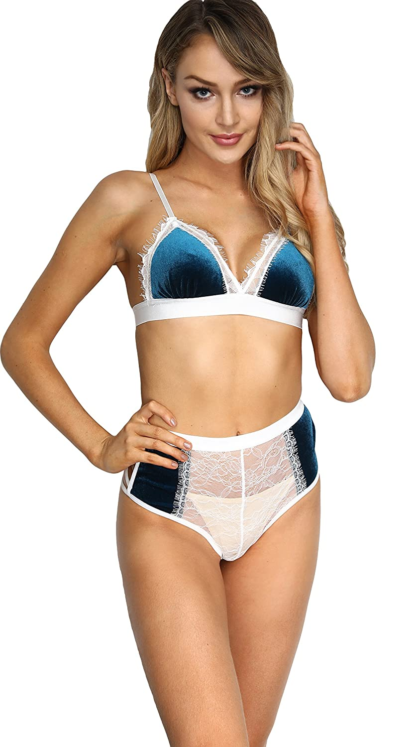 01123a164ac2e Velvet Eyelash Lace Bra Set and High Waisted Panty Bralette Set Christmas  and Valentine s Day Lingerie Babydoll Everyday Bras at Amazon Women s  Clothing ...