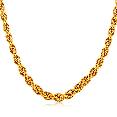 ANAZOZ Stainless Steel Necklace for Men Punk Biker Twisted Rope Chain Silver//Gold Necklace