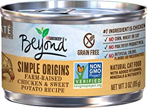 Purina Beyond Grain Free, Natural Pate Wet Cat Food, Simple Origins Chicken & Sweet Potato Recipe - (12) 3 oz. Cans