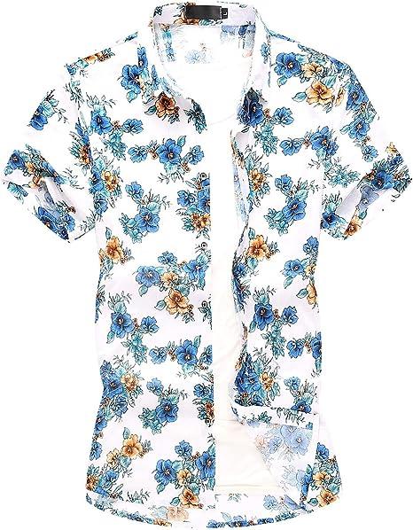 RelaxLife Camisa de Manga Corta para Hombre Tallas Grandes Ocio De Playa Camisas para Hombres Camisa Informal De Flores Estilo Hawaiano Ropa para Hombres Blusa Hombres Hip Hop Verano: Amazon.es: Deportes y