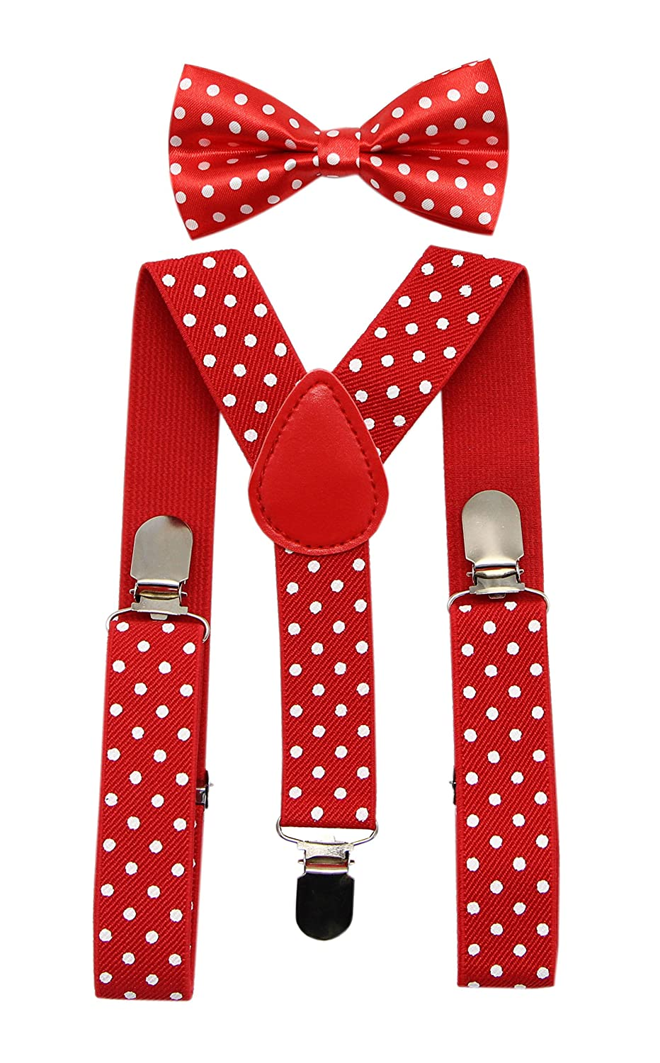 JAIFEI Suspender& Bow Tie Set-Adjustable Strong Clip-on Suspender for Boys& Girls (Beige) Boys Suspender 2 Set Beige CA