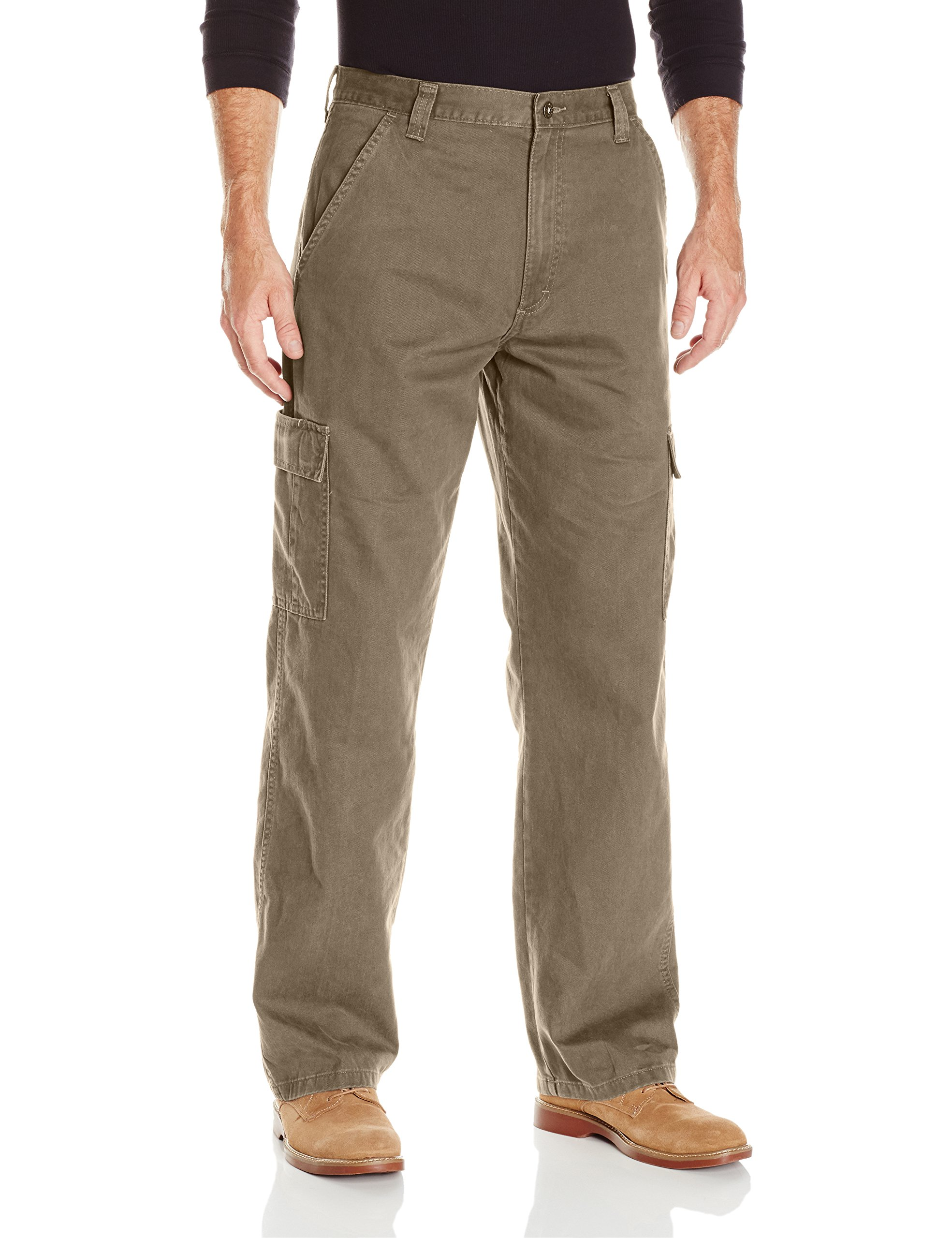Wrangler Authentics Men's Classic Twill Relaxed Fit Cargo Pant, Military Khaki Ripstop, 34 x 32