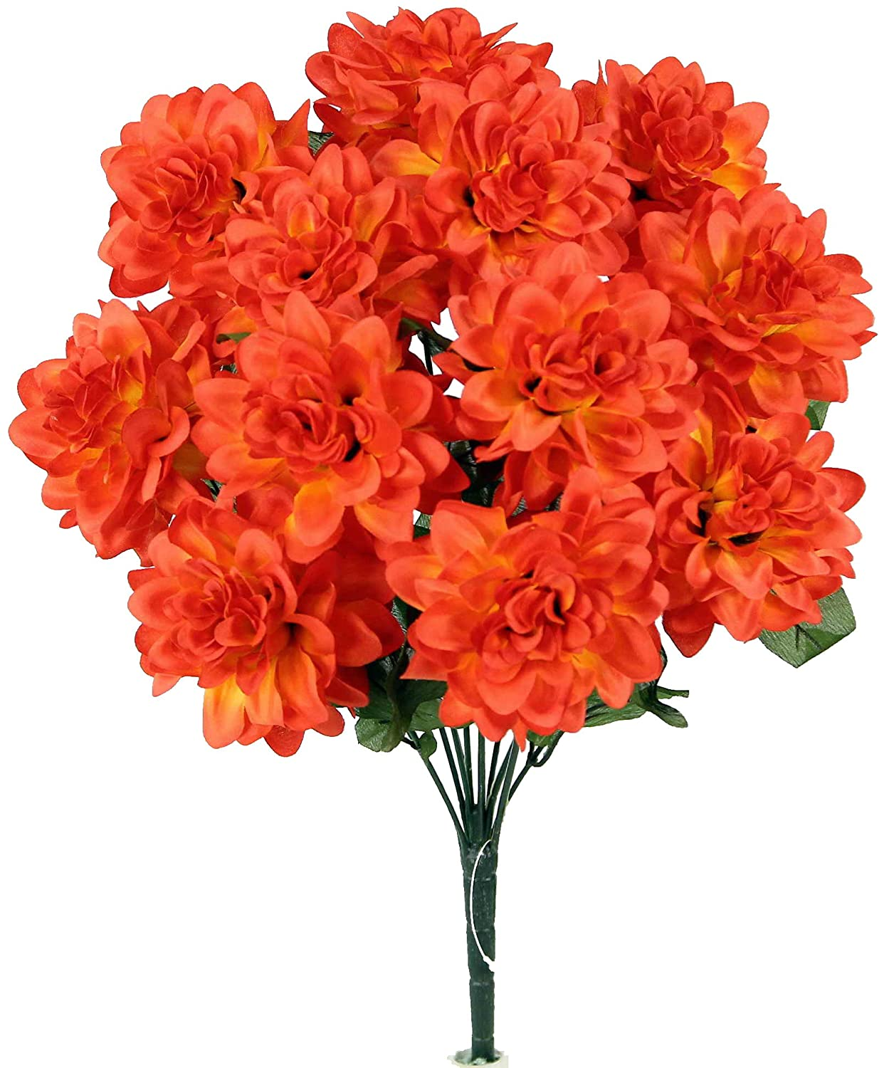 2 Pieces or Decoration for Home Office /& Wedding Orange Admired By Nature 12 Stems Artificial Full Blooming Dahlia for Mothers Day gift Restaurant