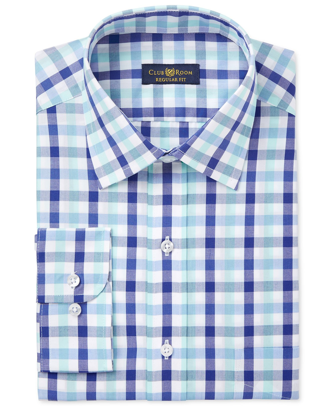 Club Room Men's Classic Fit Wrinkle Resistant Shirt (17.5'' Neck 34/35'' Sleeve, Mint Blue Gingham)