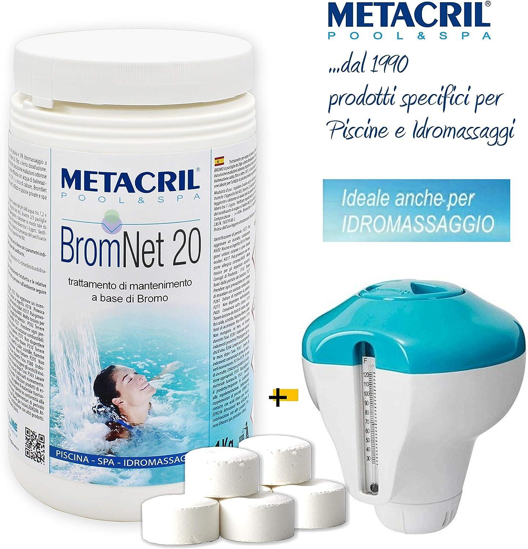 Metacril Bromo en Pastillas DE 20gr–Brom Net 20kg.1+ Dosificador Flotante C/Termómetro. Ideal para SPA Hidromasaje (Teuco, Jacuzzi, hafro, Glass, dimhora, Intex, Bestway, etc.) Envío immediata