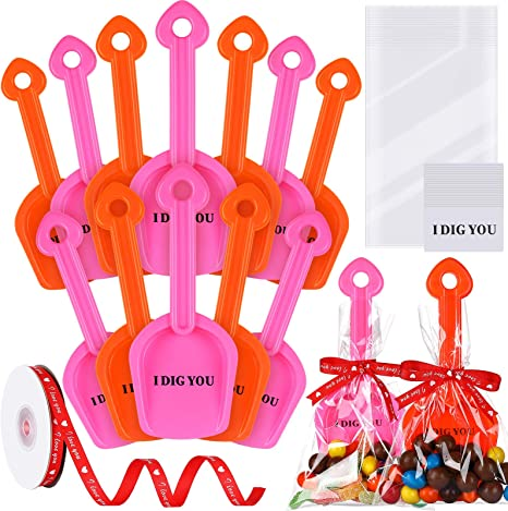 12 Pack I Dig You Shovels Spoon Red Pink Valentines Gift for Boy Girl Mini Sand Scoop Shovels Plastic Shovel Toy Scoop Set Include 12 Shovels 20 I Dig You Stickers 25 Clear Bags and 1 Red Ribbon