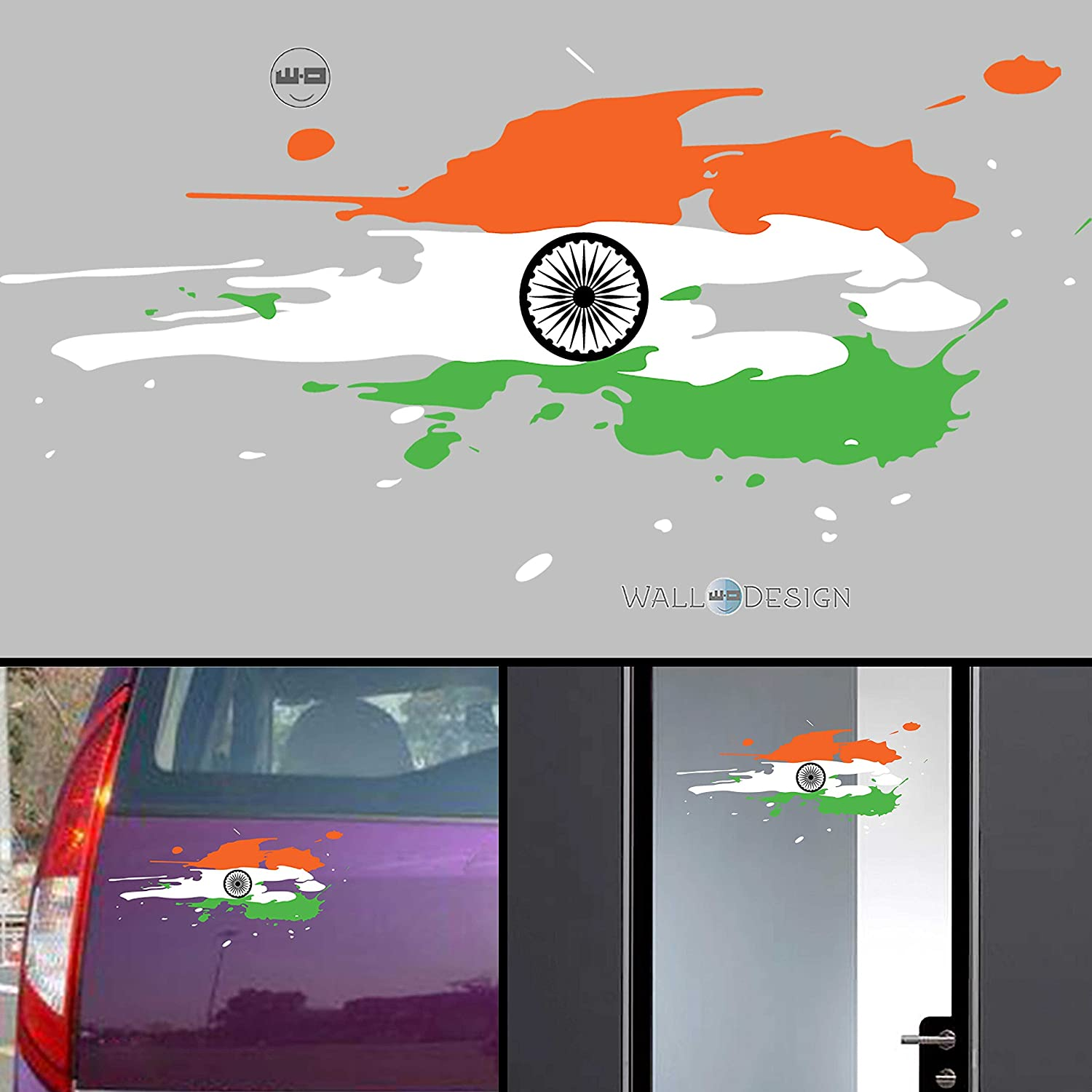 Walldesign india flag jai bharath flag car stickers for body glass wall colour splash design amazon in car motorbike