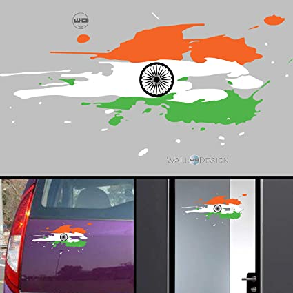 WallDesign India Flag Jai Bharath Flag Car Stickers for Body / Glass / Wall  - Colour