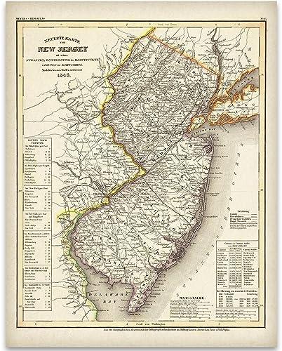 Amazon.com: 1846 New Jersey Map Art Print - 11x14 Unframed Art Print ...
