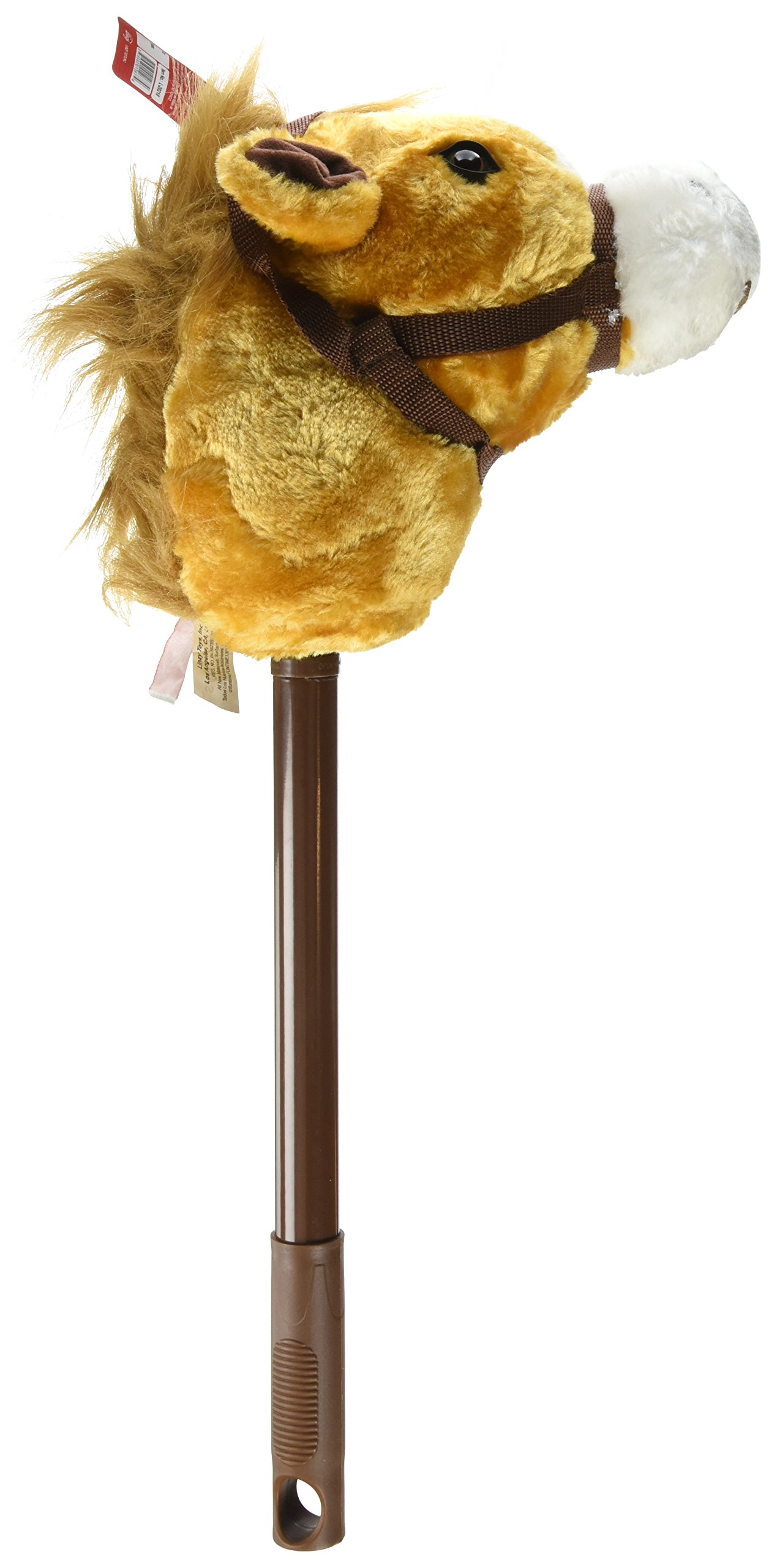 Adjustable Beige Stick Horse - Adjustable to Three Heights: 21'', 28'' and 36'' Twist & Lock System & Horse Makes Sound!