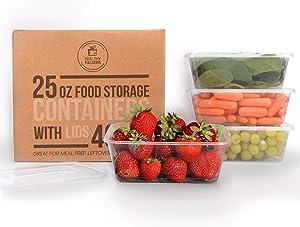 Healthy Packers Plastic Food Storage Containers with Lids 25 oz - Freezer Storage Containers with Lids - Freezer Safe, BPA Free, Reusable (Set of 40)