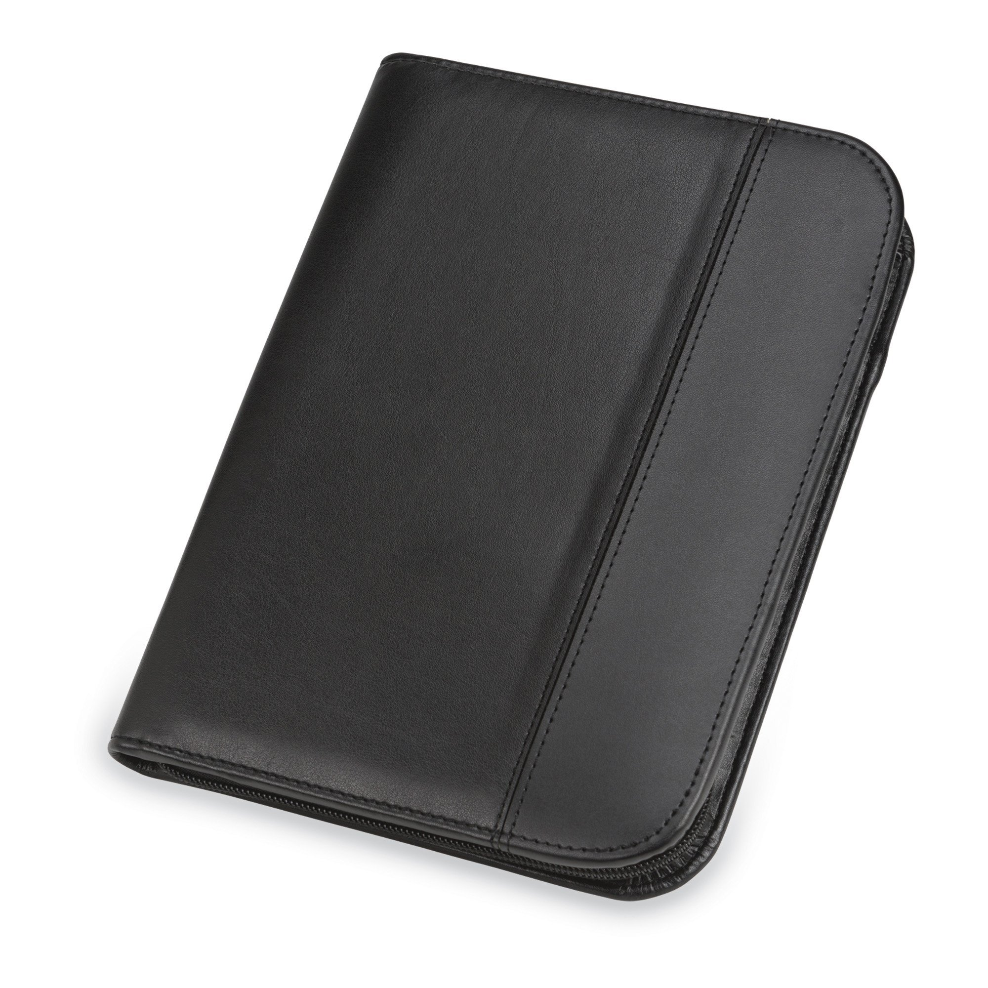 Samsill Leather Trim Business Junior Padfolio/Interview Portfolio with Zippered Closure, 5 inch x 8 inch Writing Pad Included, Black