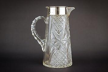 Lavish Shoestring Corte cristal plata de ley neoclásica agua Sherry puerto jarra jarra decantador diamante John