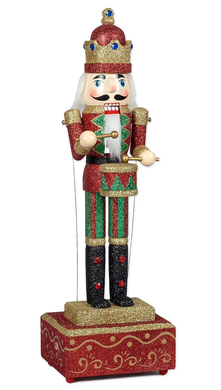 柔らかい MusicBox Kingdom Big B014L0XMD6 Wooden Nutcracker with Glitter Glitter Moves Kingdom The Arms to The Tune of