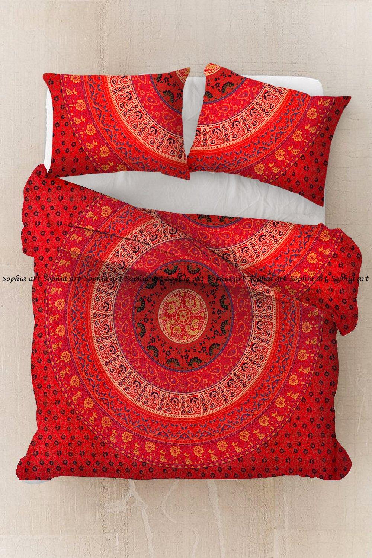 Sophia Art Exclusive New Red Handmade Badmeri Mandala Hippie Bohemain Cotton Mandala Duvet Cover, Boho Mandala Duvet Cover Pilow Cover (red)