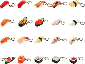 Sushi keychain (20 Set) Realistic, food replicas/ For bags, keys or pouches/ For people who like sushi and novelty miniatures/Japanese culture/ For kids' backpacks/ Japan-made/ 20 kinds
